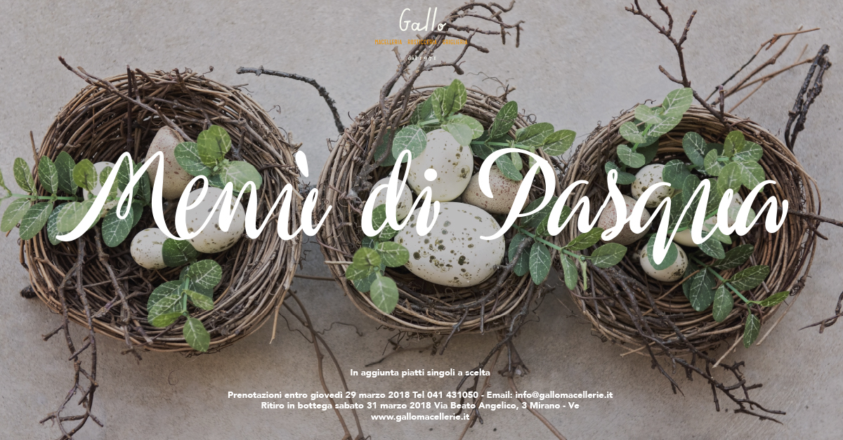 menu pasqua 2018 | Macellerie Gallo